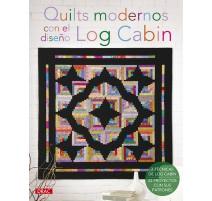 Quilts modernos con el diseño Log Cabin