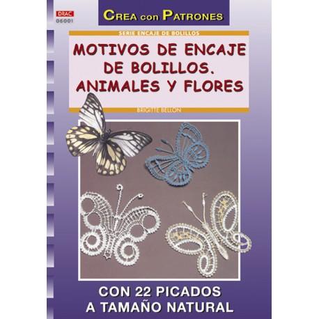 Motivos de encaje de bolillos. Animales y flores