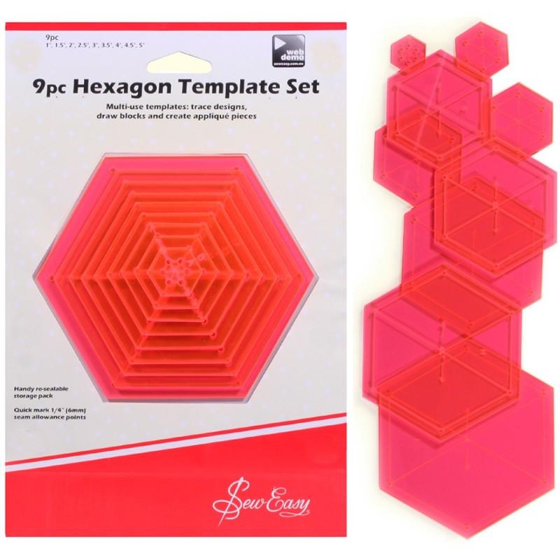 Sew Easy 9pc Hexagon Template Set