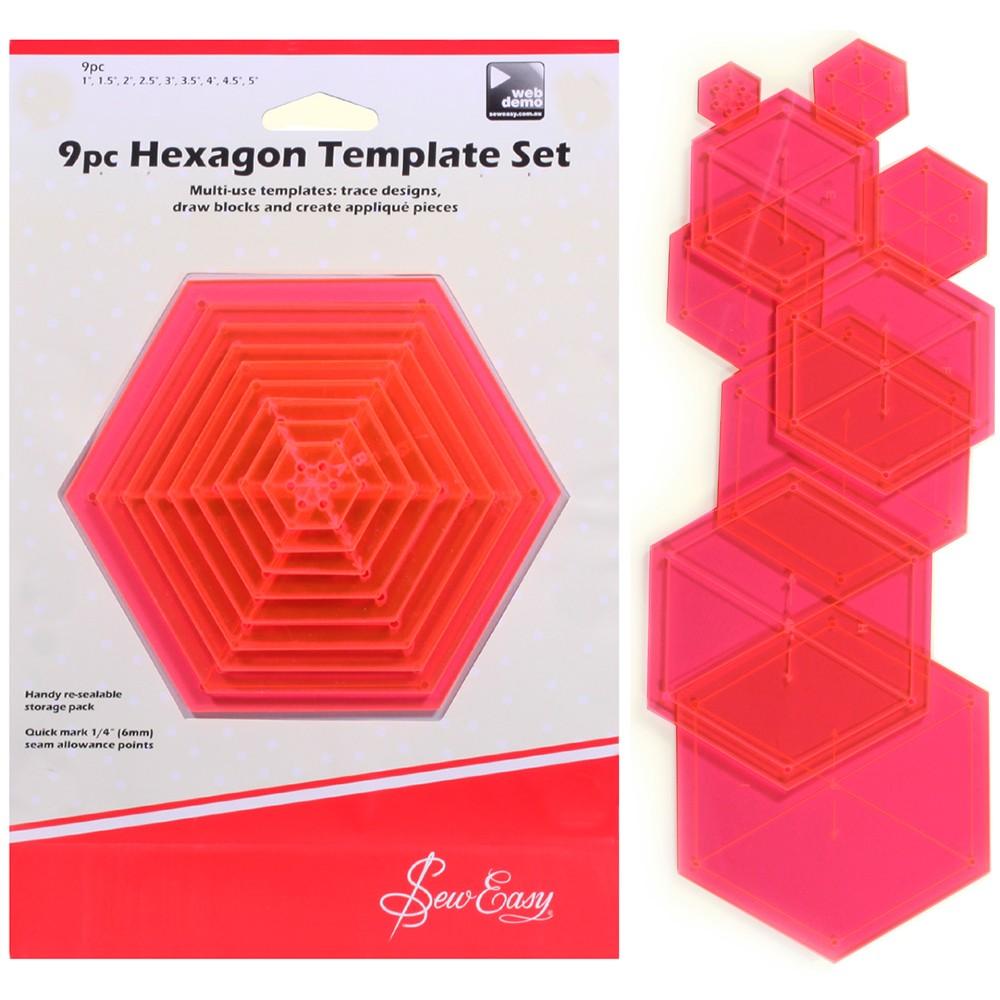 Sew Easy 9pc Hexagon Template Set - Las Tijeras Mágicas
