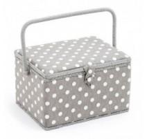 Sewing Box - Polka Dot Grey (large size)