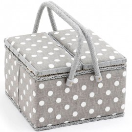 Costurero Doble Tapa - Polka Dot Grey