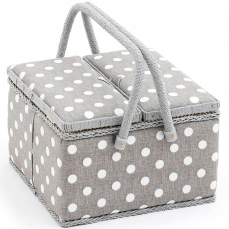 Costurero Doble Tapa - Polka Dot Gris