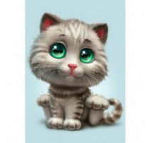 Kit Diamond Painting - Gatito de Ojos Verdes - Collection d'Art
