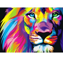 Kit Diamond Painting - León Arco iris - Collection d'Art