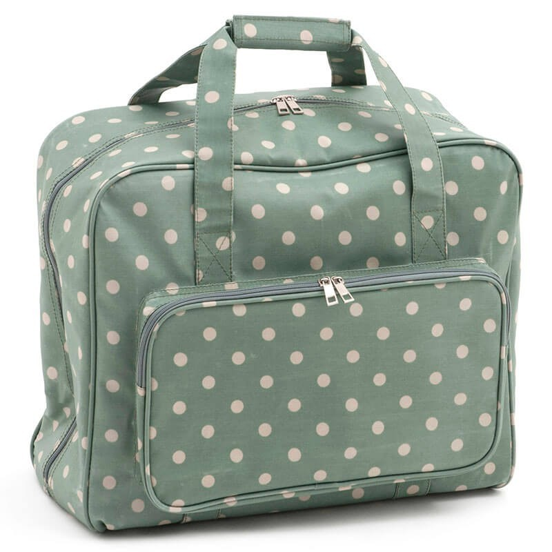 Sewing machine bag – Moss Polka Dot