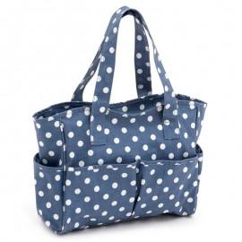 PVC knitting bag – Denim Polka Dot