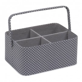 Sewing Basket - Mini Grey Spot
