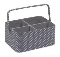 Sewing Basket - Mini Grey Spot