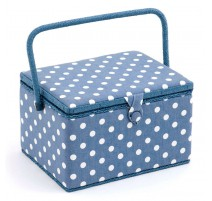 Big Sewing Box - Denim Polka Dot