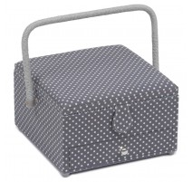 Sewing Box with drawer - Mini Grey Spot