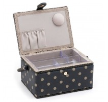 Medium Sewing Box – Charcoal Polka Dot