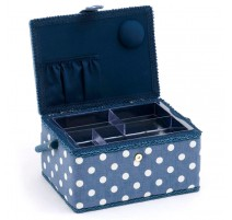 Medium Sewing Box - Denim Polka Dot