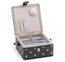 Small Sewing Box – Charcoal Polka Dot