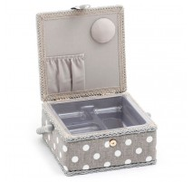 Small Sewing Box – Grey Linen Polka