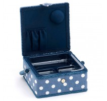 Small Sewing Box – Denim Polka Dot
