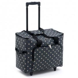 Rolling backpack - Charcoal Polka Dot