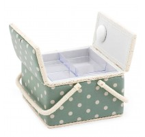 Double Lid Sewing Box – A Moss Polka Dot