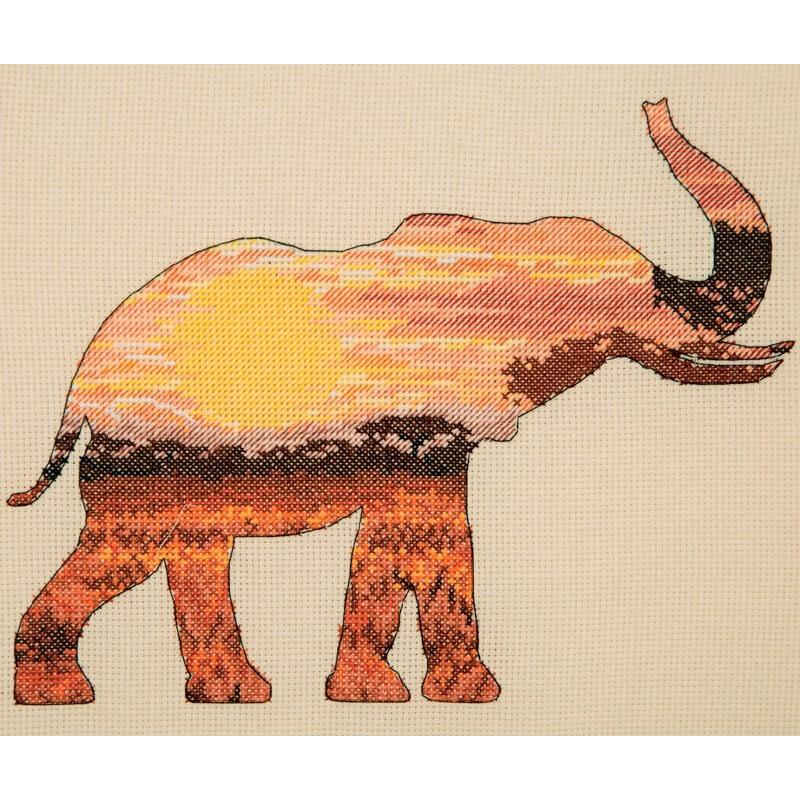 Kit Punto de Cruz - Elephant Silhouette - Anchor Maia Collection