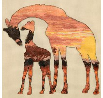 Kit Punto de Cruz - Giraffes Silhouette - Anchor Maia Collection