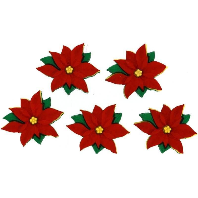 Botones Red Poinsettias - Dress It Up