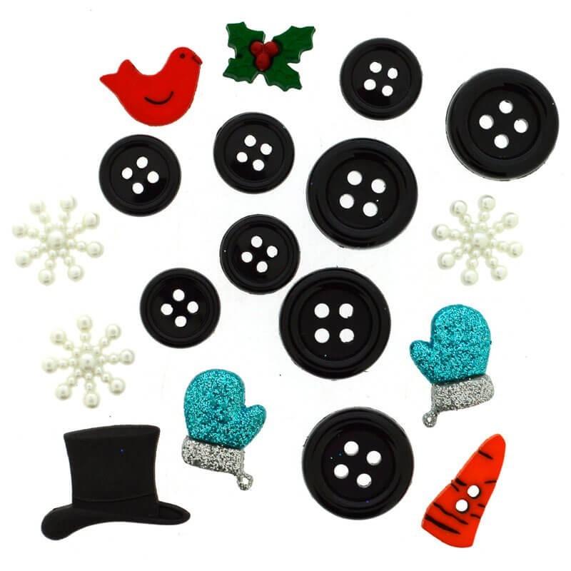 Botones Building A Snowman - Dress It Up
