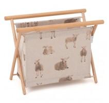 Folding Knitting Basket - Linen Sheep