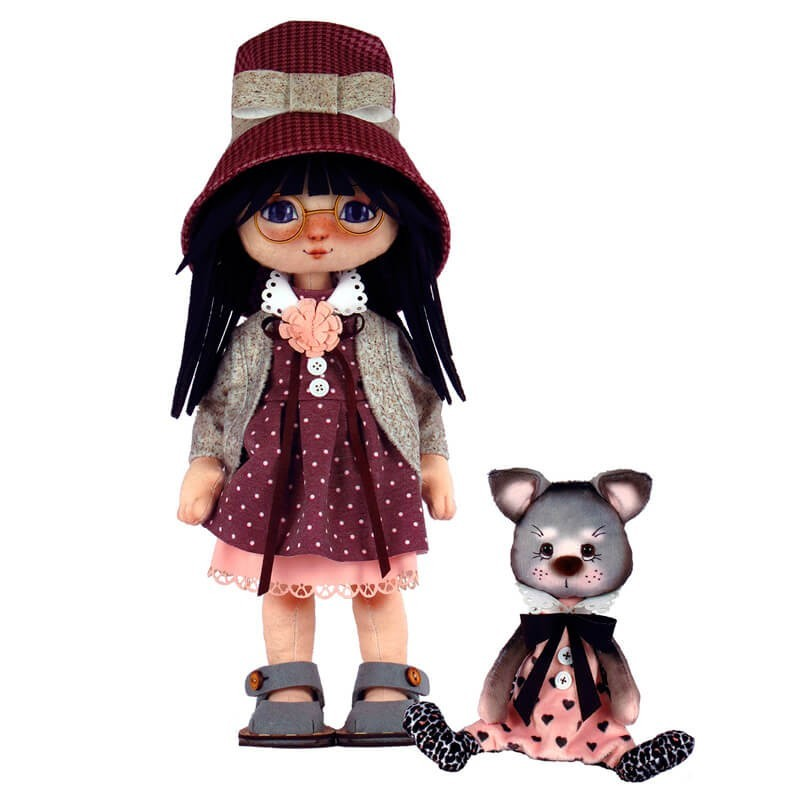 Kit de Costura Muñeca - Girl with a Cat