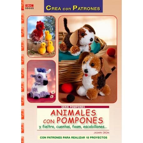 Animales con pompones y fieltro, cuentas, foam, escobillones...