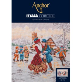 Kit de Bordado - Skaters at Christmas - Anchor Maia Collection