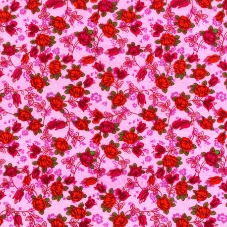 Tela Rosa con Flores