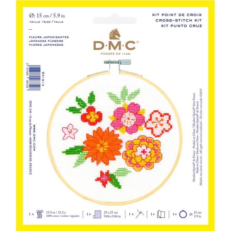 Kit de Punto de Cruz  - Flores Japonesas - DMC