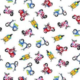 Fabric with Motorbikes - White
