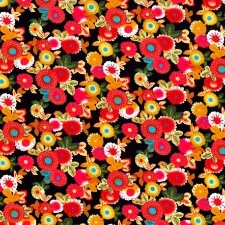 Flores Rosadas en Fondo Negro