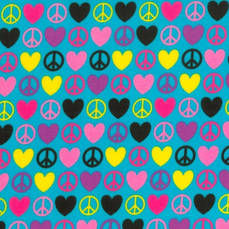 Signos de la Paz y Corazones - Turquesa