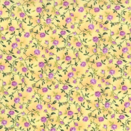 Flores Lila en fondo Amarillo