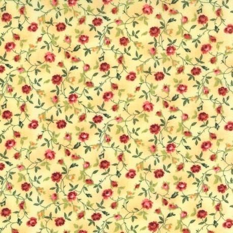 Flores Fucsia en fondo Amarillo