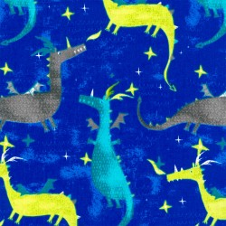 Tela Cretona - Dragones - Azul