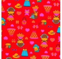 Tela de Muñeca y Complementos - Rojo