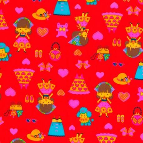 Tela de Muñeca y Complementos- Rojo