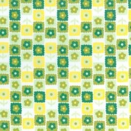 Tela Cuadros con Flores - Verde