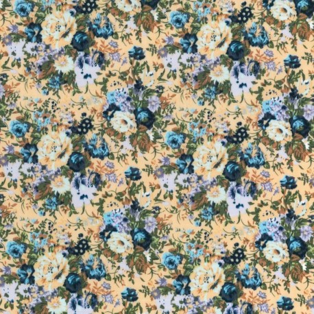 Rosas Vintage Pintada Multicolor- Azul