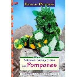 Animales, flores y frutas con pompones