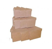 Set de 3 cajas de papel maché árboles de navidad