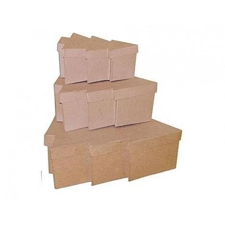 Set de 3 cajas de papel mach rboles de navidad las for Arbol de navidad con cajas de carton