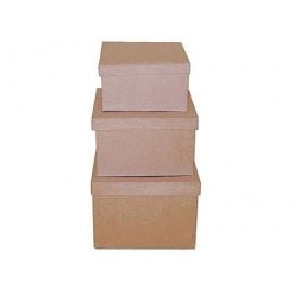 Set de 3 cajas papel maché cuadradas 15, 19, y 22cm