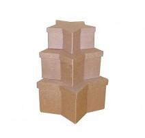 Set de 3 cajas de papel maché estrellas
