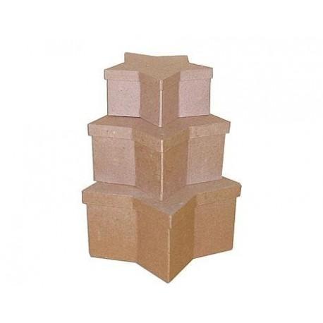 Set de 3 cajas papel maché estrellas 18, 23 y 27cm