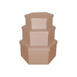 Set de 3 cajas papel maché hexagonales
