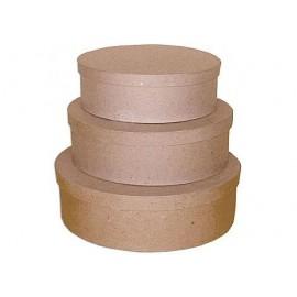 Set de 3 cajas papel maché ovales